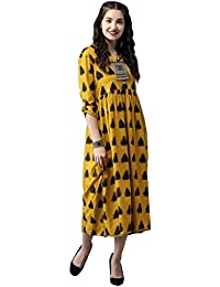 Amayra Women Rayon Anarkali Kurti(Mustard)