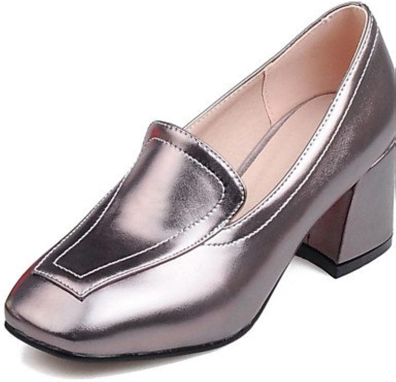 ZQ Zapatos de mujer-Tac¨®n Robusto-Tacones / Punta Cuadrada-Tacones-Oficina y Trabajo / Vestido / Casual-PU-Rojo...