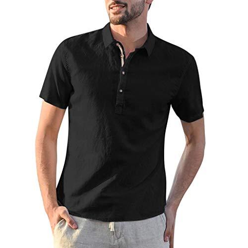 Eagle Mens Fitted T-shirt (TAMALLU Herren Hemden Modische Formell Baumwolle Leinen Einfarbig Männer Tee Kurzarm Bluse(Schwarz,2XL))