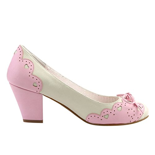 Pin Up Couture WIGGLE-17 Cream-Pink Faux Leather