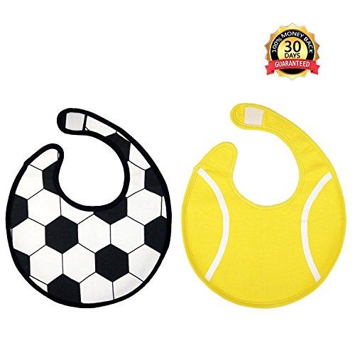 Baby Lätzchen Wasserdicht Weich, Spucktuch Doppellagig Unisex, Bandana Sabberlätzchen mit Klettverschluss, Halstücher für Säugling(2 pack) von Zebrum (Ganzkörper-bib)