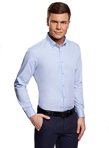 oodji Ultra Uomo Camicia Basic Extra Slim Blu (7000N)