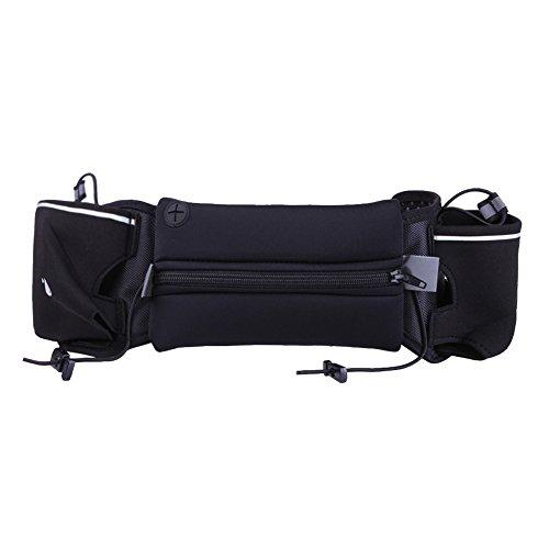 Sport marsupio/2Water Bottle Holder marsupio/iPhone 7Plus sport/grande capacità impermeabile cintura esterna con due tasche ultra-thick Lycra traspirante Black