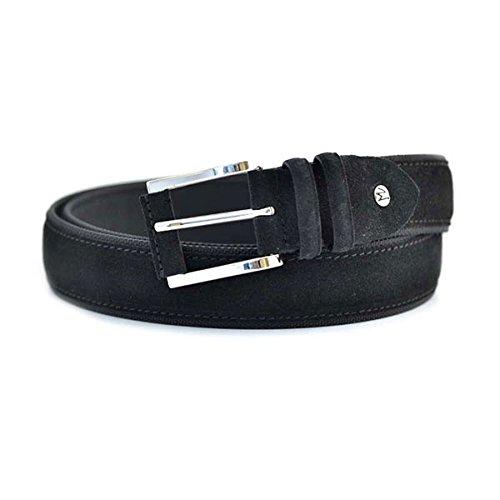 Cintura Fabrizio Mancini da uomo in camoscio e tessuto nero, morsetto svitabile che rende la cintura accorciabile, scatola regalo e fibbia in acciaio. Prodotto interamente made in Italy