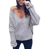 Hanomes Damen pullover, Frauen Langarm V-Ausschnitt Solid Color Fledermaus Ärmel Tops Bluse preisvergleich bei billige-tabletten.eu