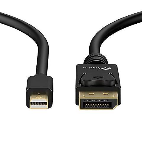 Mini DisplayPort vers DisplayPort Câble, Rankie 1.8m Plaqué Or Mini DP vers DP Câble Adaptateur Connecteur Résolution 2K Prêt (Noir) -