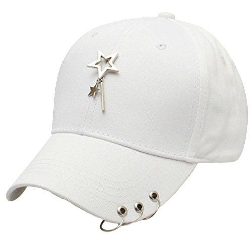 Belsen Damen Stift Ring Reifen Vintage Baseball Cap Trucker Hat (Sterne weiß)