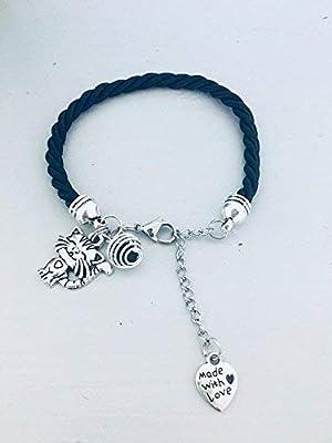 Bracelet noir avec pendentif chat, bijou, bijoux, bracelets, bracelet femme, bracelet noir, bracelet chat, bijou chat