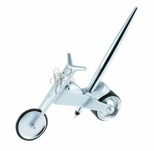 Wedo 2054254 Kugelschreiberständer und Büroklammernhalter Motorrad (Easy Writer inklusive 10 Büroklammern verpackt im attraktiven Geschenkkarton) silber
