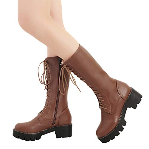 MYMYG Frau Mittleres Rohr Stiefel Damen Rutschfeste Mitte Booties Winterschuhe Plateauschuhe Lederschuhe Stylische Zip-up Lace Up Schuhe Elegant Retro PU Leder Stiefel -