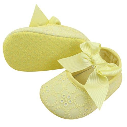 Säugling Mädchen Baumwollband Bowknot Prewalker, Zolimx Baby Weiche Unterseite Blumen-Schuhe Gelb