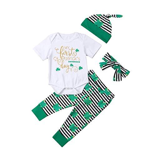 Säuglingskleinkind Little Baby 4 Stück St. Patrick's Day Kleidung Set Vierblättriges Kleeblatt Kurzarmshirts + Gestreifte Lange Hosen + Hut + Stirnband Outfit (0-6 Monate, Weiß 3) (St Patrick's Day Kostüm Babys)