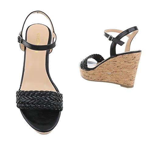 Ital-Design Chaussures Femme Sandales Compensé Sandales Compensees noir SL-48