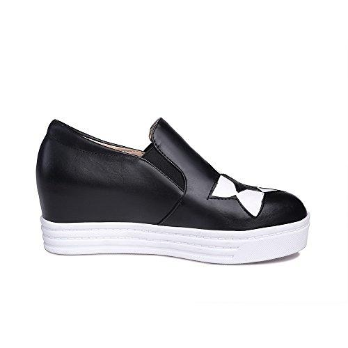 AllhqFashion Damen Pu Rund Schließen Zehe Mittler Absatz Gemischte Farbe Pumps Schuhe Schwarz a0uFSnOFO