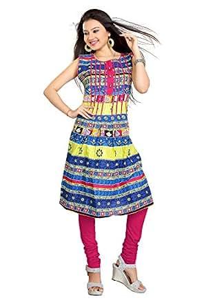 Pranjal Women's Blue Colour frock style kurti Extra Large