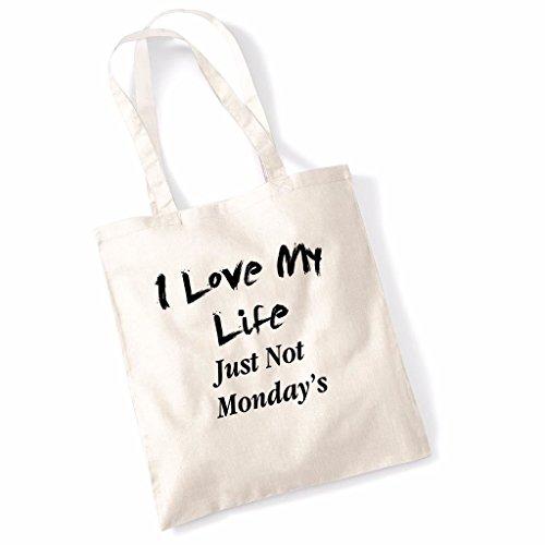 Tote bag pour femme I Love My Life Just Not Mondays slogan imprimé sac épaule sacs en toile
