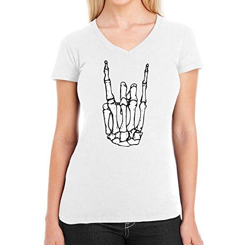 Coole Rock n Roll Skelett Hand Halloween Damen T-Shirt V-Ausschnitt Weiß
