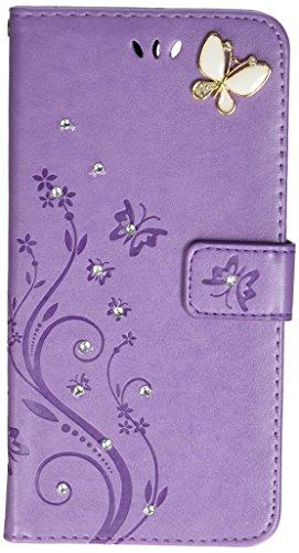 auroralove cmbb 0257LUXUS Handmade Bling Strass Soft Slim Flip Ständer Wallet iPhone 7Plus 5,5Blume Schmetterling PU Leder Hülle für Mädchen lila