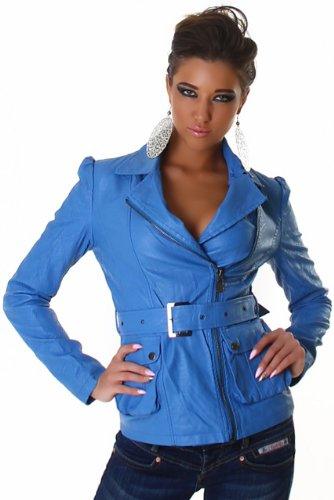 Voyelles Damen Jacke in Leder-Optik mit Gürtel, blau Größe 34 36