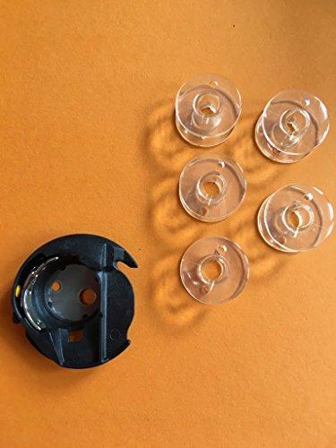 Spulenkapsel + 5 Spulen für Pfaff Nähmaschinen Passport 2.0, 3.0 -