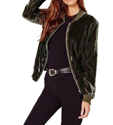 ANDYOU-Women Damen pure color long sleeve velvet reißverschlusstaschen bomberjacke X-Small Schwarzish grün