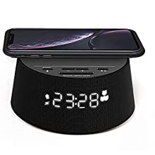 Philips Alarm clock PR702/12 Digital alarm clock (Bluetooth, wireless Qi charging pad, sleep timer, alarm function, USB charging port) Black