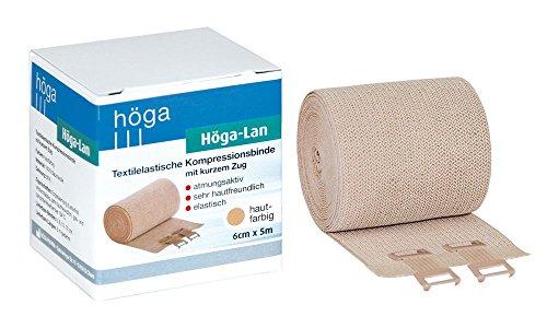 Höga Lan, Textilelastische Kompressionsbinde mit kurzem Zug - 6 cm x 5 m gedehnt – sehr hautfreundlich, atmungsaktiv, elastisch, waschbar