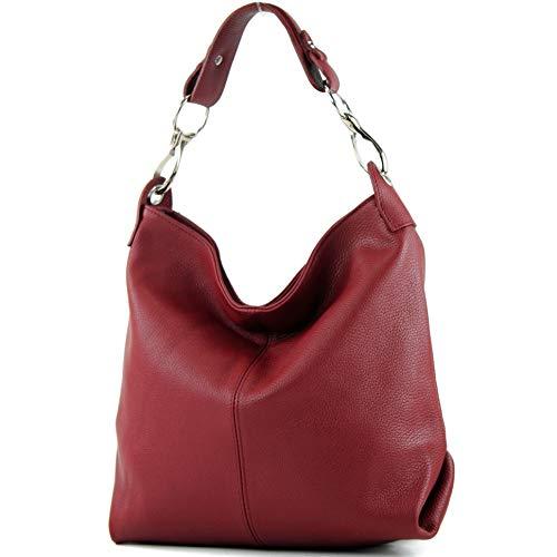 modamoda de - T168 - ital Schulter-/Umhängetasche aus Leder, Farbe:Dunkelrot - Rote Schulter-tasche Handtasche