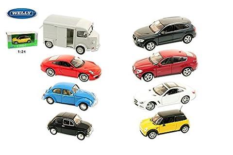 Welly 1:24 Car Collection, 8 verschiedene Marken- 1 Auto pro Bestellung!!! - Mini Cooper(nur rot)/Citroen Type H (grau & rot)/BMW X6/Audi Q5/Porsche 911 (991) Carrera S/2012 Mercedes-Benz SL500/Fiat Nuova 500 (weiß & schwarz)/VW Beetle (Hard-Top)(blau & schwarz)