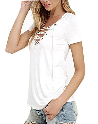 Ghope Damen Sommer T-Shirts Kurzarm V-Ausschnitt Bandage Bluse Hemd Oberteil Tops Tank Weiß