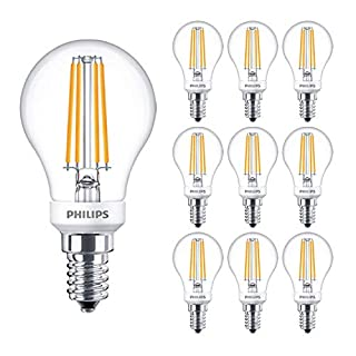 10 Pack - Philips Classic Filament LED 5W Clear Dimmable Lustre Golf Ball Lamp E14 SES 2700k Warm White 470 Lumen 15000 Hours - 929001332502 - Free Car Air Freshener Promo