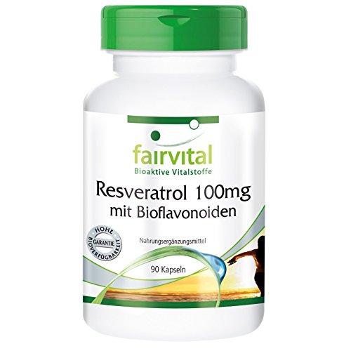 Resveratrol 100mg mit Bioflavonoiden - VEGAN - 90 Kapseln - mit Rutin, OPC und Quercetin