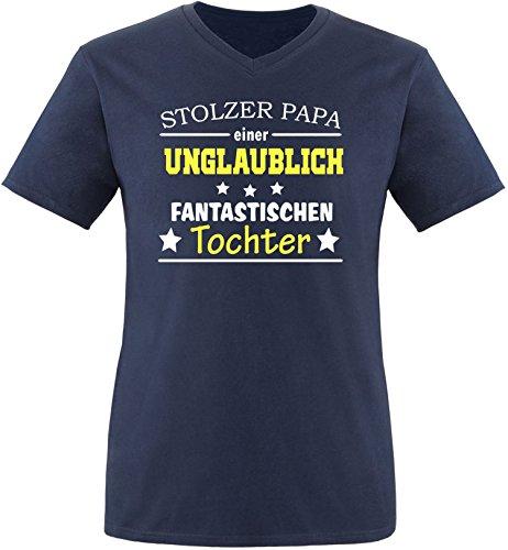 EZYshirt® Stolzer Papa einer unglaublich fantastischen Tochter Herren V-Neck T-Shirt Navy/ Weiß/ Gelb