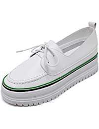 Damen Sneaker Britisch Stil Freizeit Blockabsatz Erhöhung Rundzehen Einfach Rutschfeste Sohle Braun 36 EU Schnürhalbschuhe