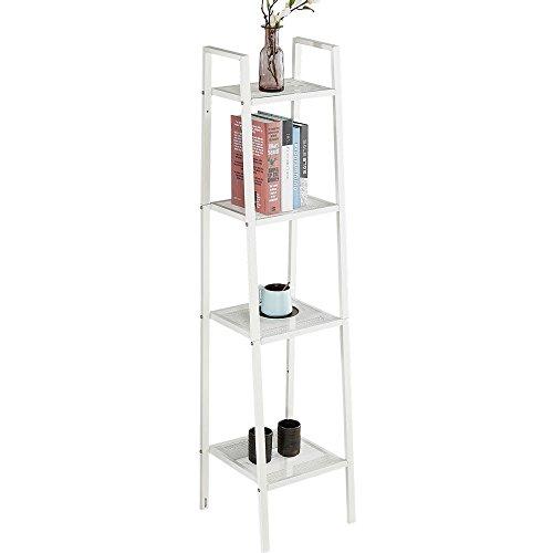 4 Etagen Leiter Regal Bücherregal Display Schiefen freistehend Stahl Rahmen Wand-Organizer Rack 35 * 35 * 148 cm weiß