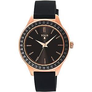 TOUS Reloj Straight Ceramic de acero IP rosado y bisel de cerámica con