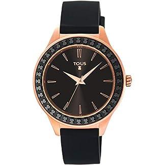 TOUS Reloj Straight Ceramic de acero IP rosado y bisel de cerámica con correa de silicona negra Ref:900350365