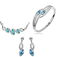 Neevas Classic Teardrop Austrian Crystal 3 in 1 Jewelry Set: Earring Necklace Bracelet (Sea Blue)