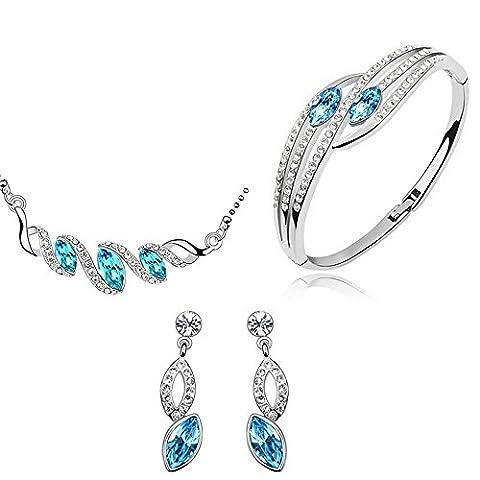 Neevas Classic Teardrop Austrian Crystal 3 in 1 Jewelry Set: Earring Necklace Bracelet (Sea Blue)