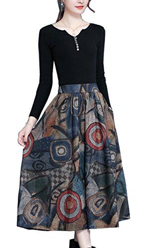 Geraffte Knie Hoch (Tribear Damen Vintage Winter Herbst tartan mit hoher Taille flared röcke knielange Kleider (Tag M/EU 34-36, Farbe1))