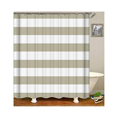 Knbob Polyester Duschvorhang Beige Streifen Badewanne Vorhang 180x200CM mit 12 Duschvorhangringen