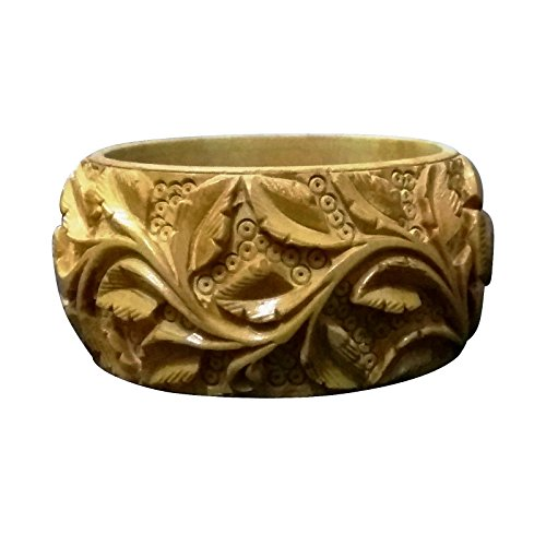 Indian Handmade Wooden Bangles Set Two Kada Natural Brown Wood (1.5 Inch, Floral 1)
