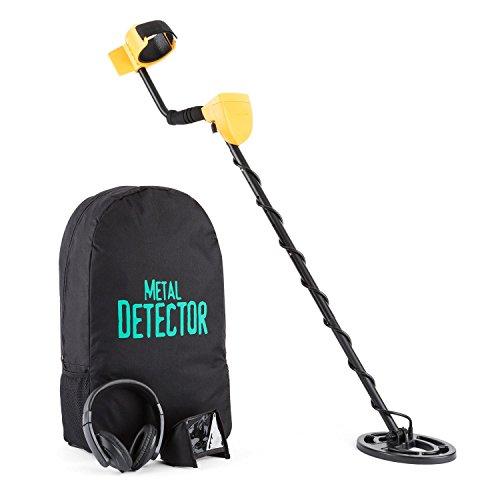 Duramaxx Dr. Jones metal detector (bobina impermeabile di 16,5 cm, profondità di ricerca fino a 2 m, segnale acustico, ingresso cuffie, zaino per trasporto, parasole per display) - nero