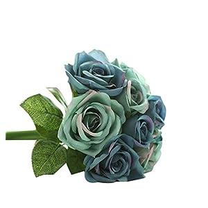 ZEZKT-Home Künstliche Blumen für Hochzeits-Bouquets, Zuhause, Hotel, Garten-Deco, Veranstaltungen, Weihnachten   Kunstblumenstrauß mit künstlichen Rosen Wohnaccessoires & Deko (Dunkelblau)