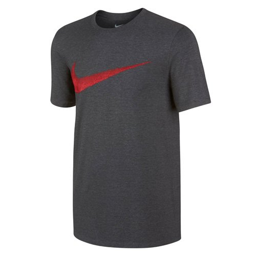 Nike Herren Sportswear Hangta Swoosh Kurzarm T-Shirt, Charcoal Heather/University Red, M