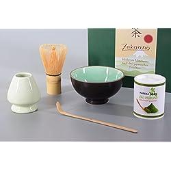 Aricola Bio Matcha Komplett Set 5-teilig, Schale moosgrün, mit Bambuslöffel, Bambusbesen, Besenhalter und 30g Bio Matcha Tee, Alles in eleganter Geschenkbox, Original