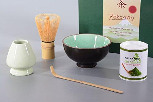 Bio-Matcha Starter Set 5-teilig, moos-grün bestehend aus Matcha-schale, Matcha-löffel und Matcha-besen (Bambus), Besen-halter, Matcha-Bio-Tee in eleganter Geschenkbox. Original Aricola®