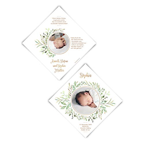 30 x Geburtskarten Babykarten Geburt Karten individuell mit Foto - Blätterkranz