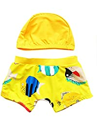 Moollyfox Conjunto Infantil de Traje de Baño con Gorro de Baño para Niños Amarillo S