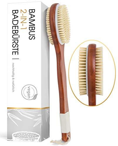 Vegane Rückenbürste mit 2 in 1 Bürstenkopf - Körperbürste mit hochwertigem Silikongriff - Duschbürste aus antibakteriellem Bambus - Badebürste gegen Cellulite
